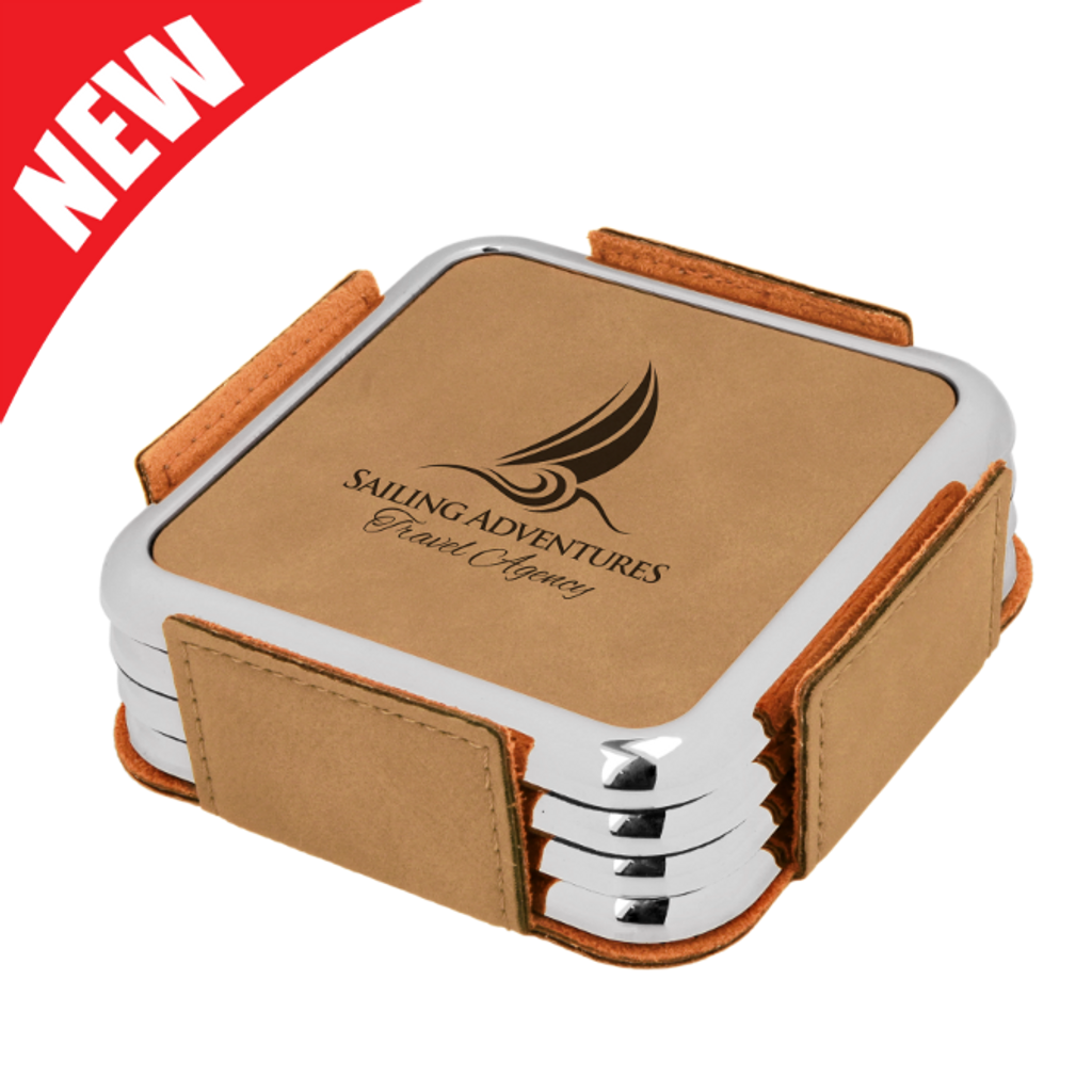Square Light Brown Leatherette with Silver Edge 4-Coaster Set