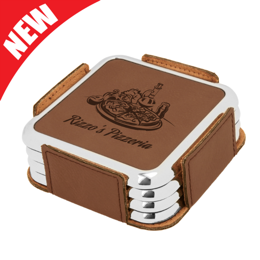 Square Dark Brown Leatherette with Silver Edge 4-Coaster Set