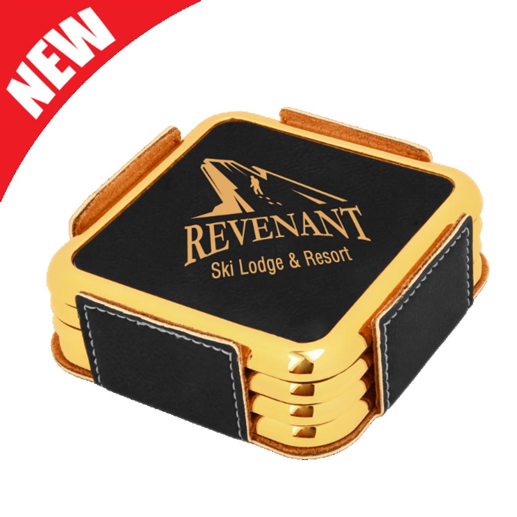 Square Black Leatherette with Gold Edge 4-Coaster Set
