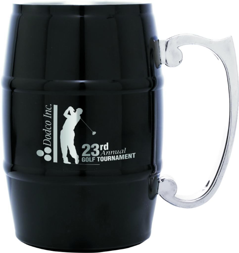 Black Barrel Mug with Handle