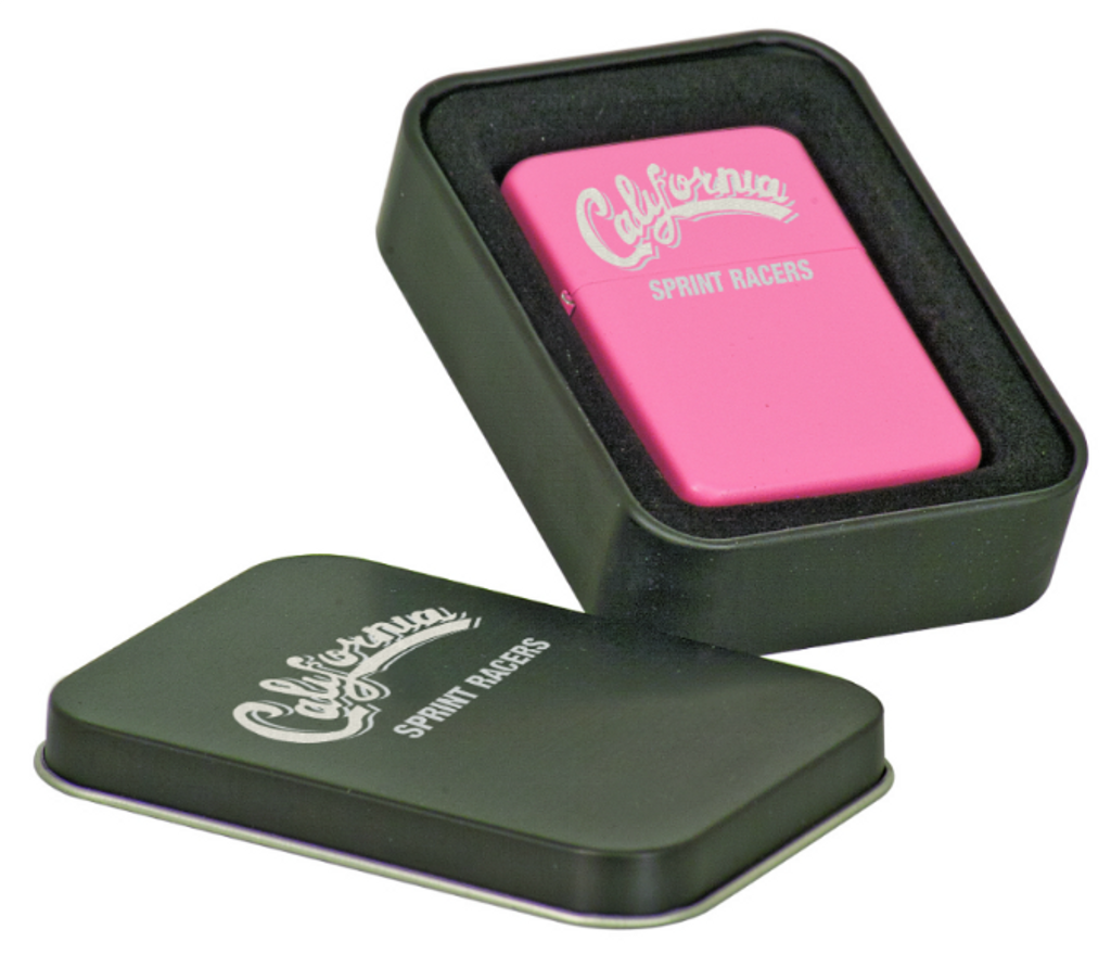 Matte Pink Laserable Lighter in Laserable Black Tin