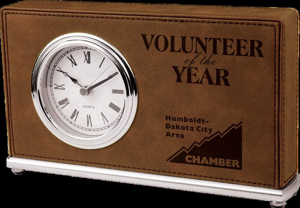 Dark Brown Leatherette Horizontal Desk Clock