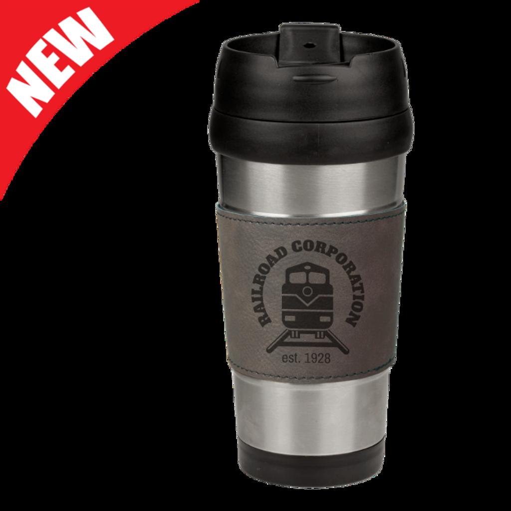 Gray Leatherette Stainless Steel Travel Mug