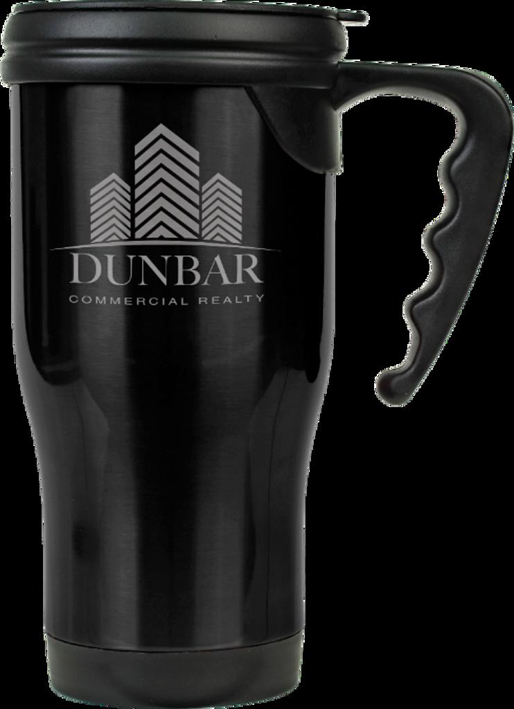 Gloss Black Stainless Steel Travel Mug with Handle