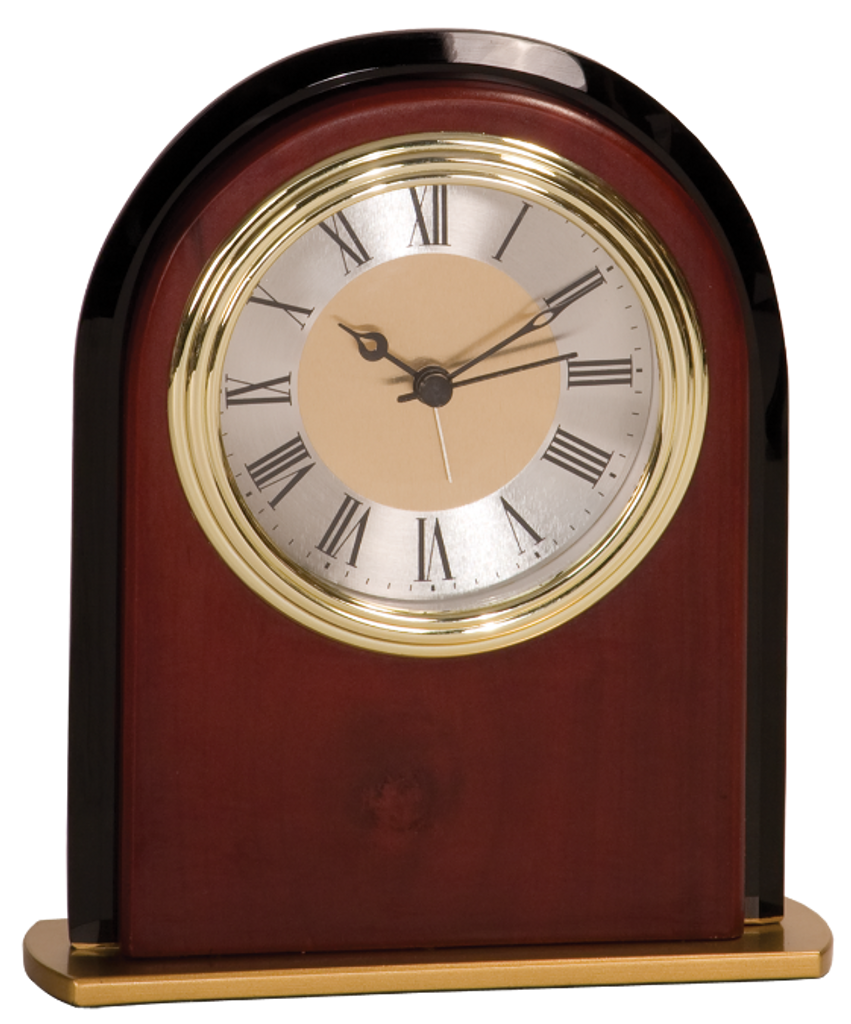 Mahogany Finish & Glass Arch Clock