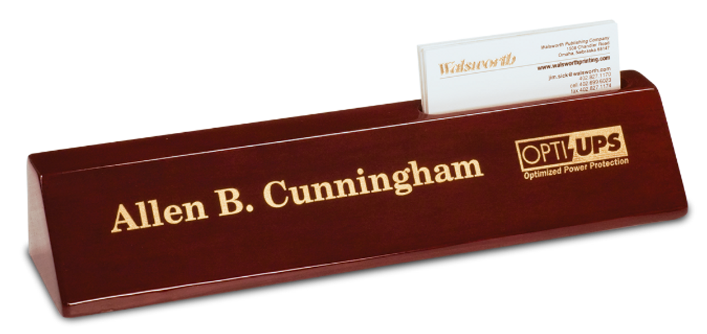 Rosewood Piano Finish Desk Wedge with Business Card Holder