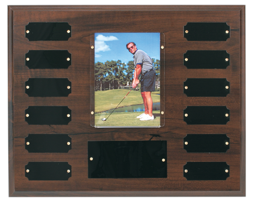Cherry Finish Perpetual Plaque with 12 Plates & 3 1/2 x 5 Photo Holder