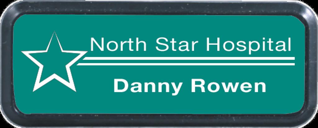 Black Rounded Corner Rectangle Name Badge Frame