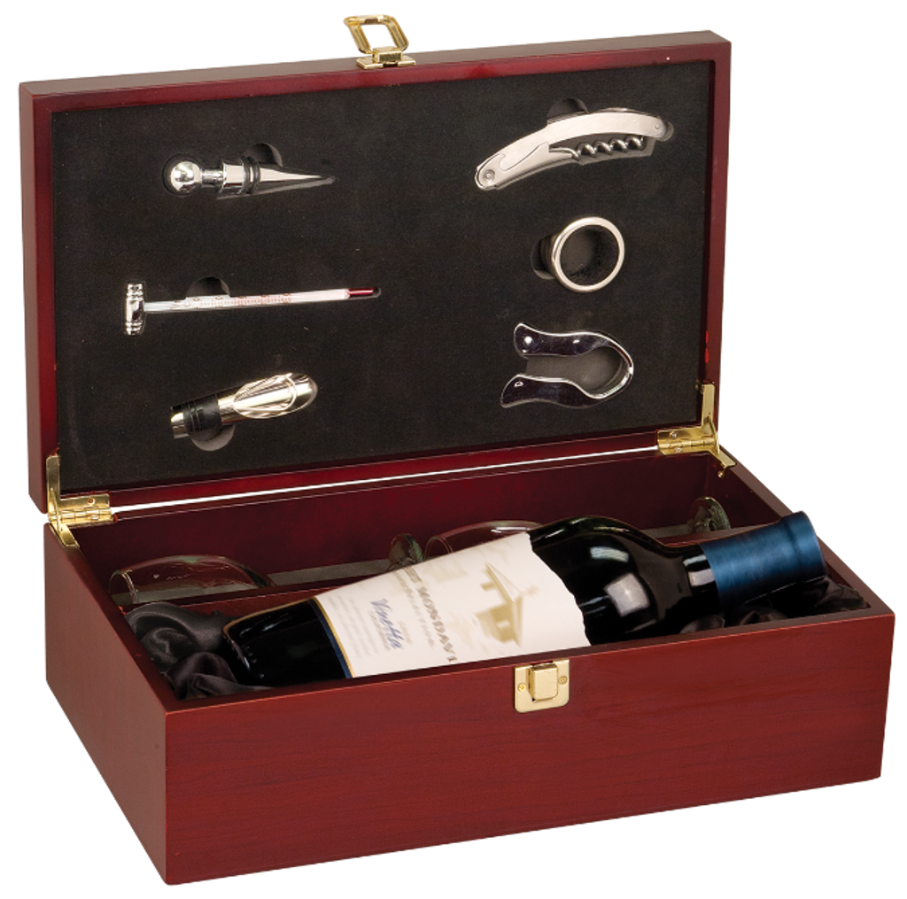 Rosewood Finish Single Wine Presentation Box with 6 Tools & 2 Glasses