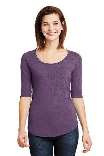Ladies Tri-Blend Deep Scoop Neck 1/2-Sleeve Tee