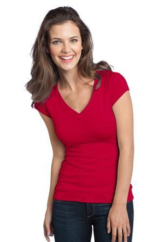 Juniors Cotton/Spandex Banded V-Neck Tee