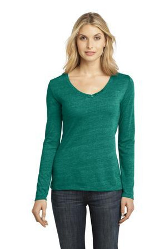 Ladies Textured Long Sleeve V-Neck with Button Detail