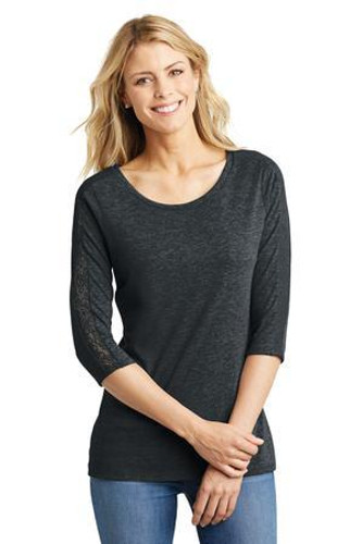 Ladies Tri-Blend Lace 3/4-Sleeve Tee