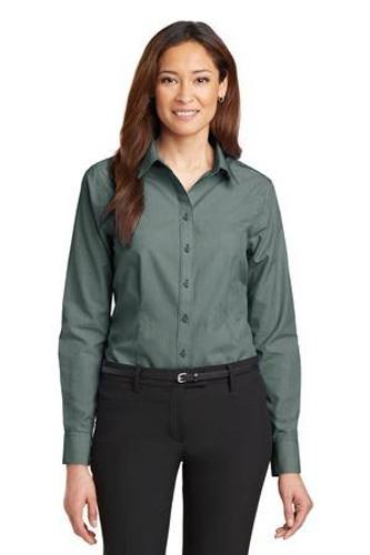 Ladies Mini-Check Non-Iron Button-Down Shirt