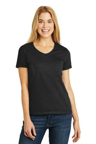 Ladies Tagless 100% Cotton V-Neck T-Shirt