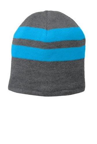 Fleece-Lined Striped Beanie Cap