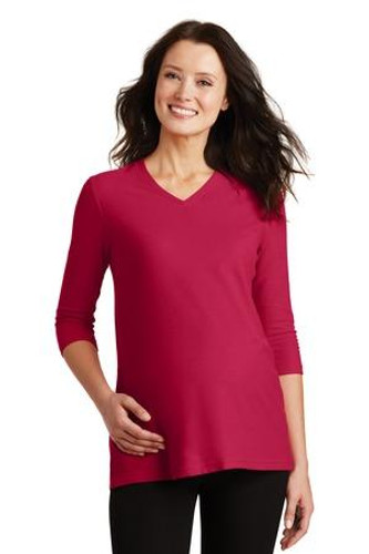 Ladies Silk Touch Maternity 3/4-Sleeve V-Neck Shirt