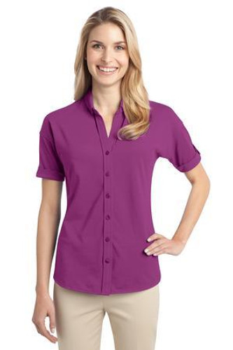 Ladies Stretch Pique Button-Front Shirt