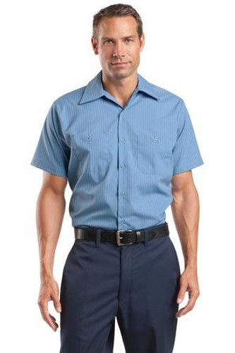Long Size  Short Sleeve Striped Industrial Work Shirt