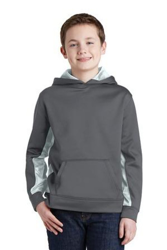 Youth Sport-Wick CamoHex Fleece Colorblock Hooded Pullover