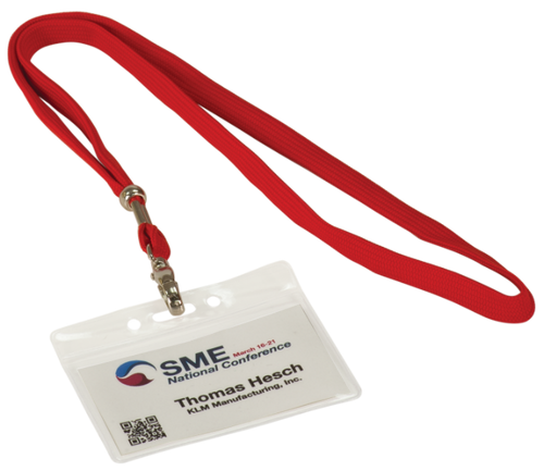Clear Plastic Badge Holder with 36 Long Red Lanyard