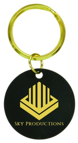 Black Brass Round Keychain