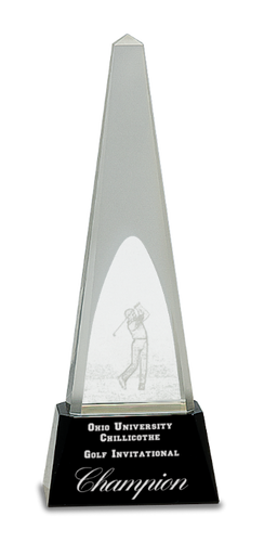 Crystal 3D Golf Spire on a Black Crystal Base