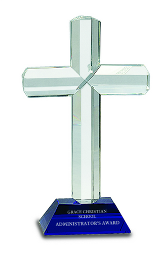 Premier Crystal Cross with Blue Base