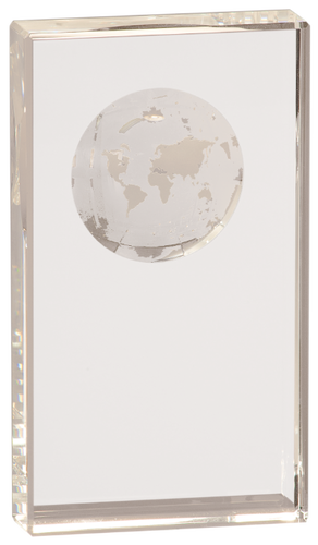 Crystal Rectangle with Etched Globe