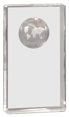Clear Crystal Rectangle with Etched Globe