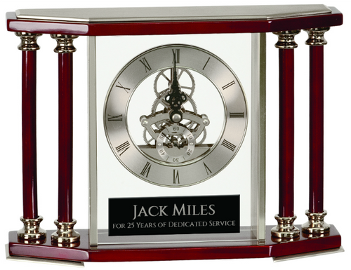 Executive 4-Pillar Silver & Rosewood Piano Finish Clock