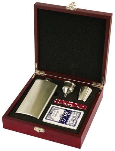 Rosewood Finish Flask Set