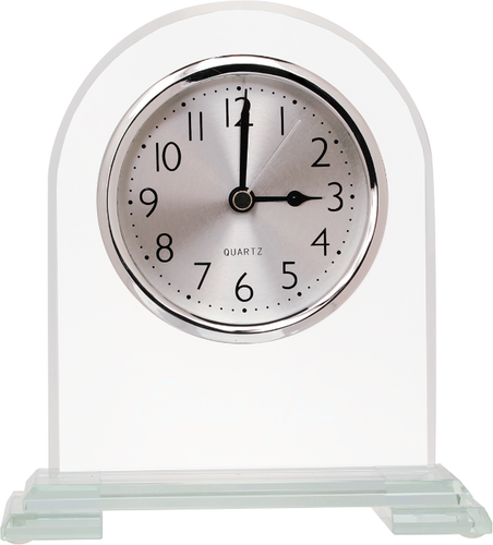 Arch Glass Clock with Clear Glass Base