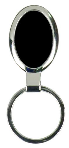 Large Black Oval Keychain