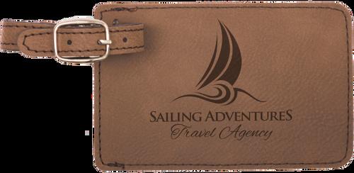 Dark Brown Leatherette Luggage Tag