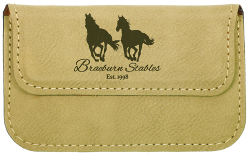 Light Brown Leatherette Business Card Holder