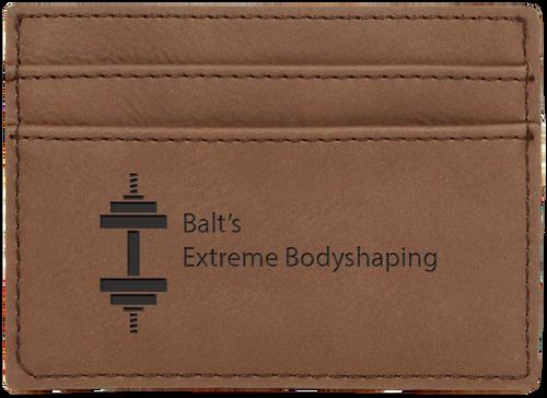 Dark Brown Leatherette Money Clip & Card Holder