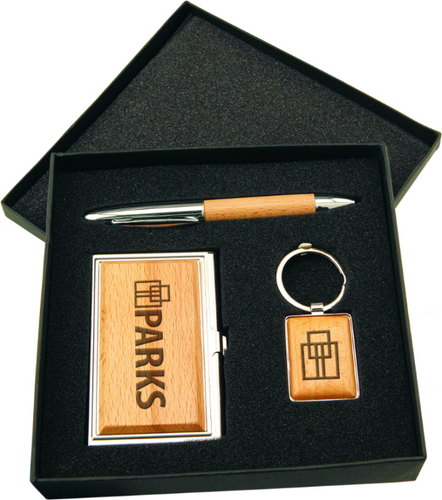 Silver/Wood Gift Set w/ Business Card Case Pen & Keychain