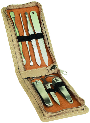 Piece Light Brown Leatherette Manicure Gift Set