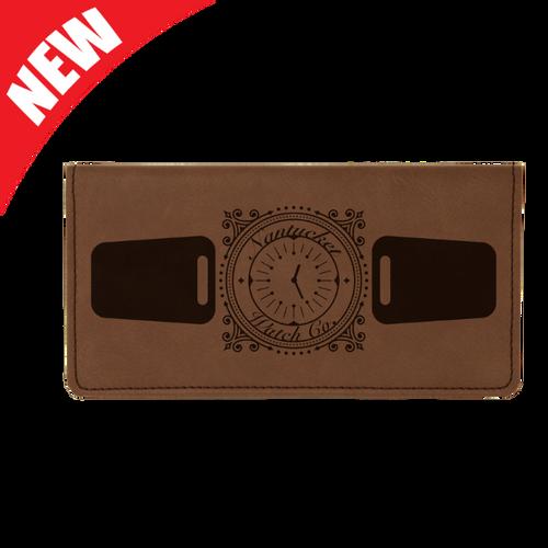 Dark Brown Leatherette Checkbook Cover