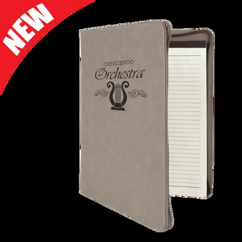Gray Leatherette Portfolio with Zipper