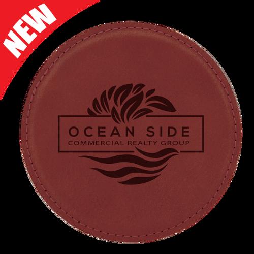 Round Rose Leatherette Coaster