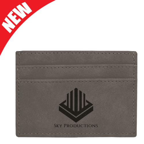 Gray Leatherette Money Clip & Card Holder