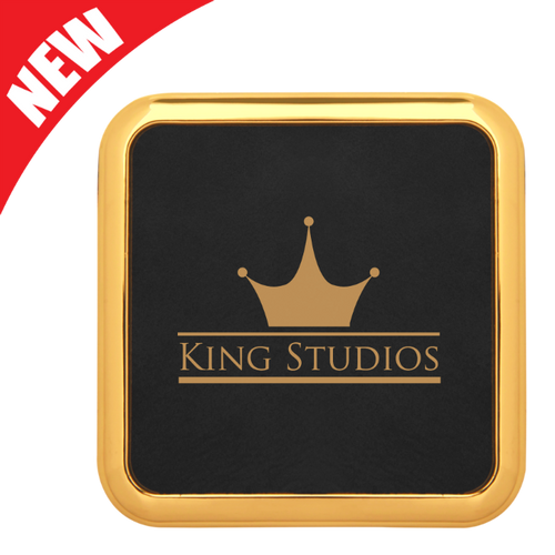 Square Black Leatherette Coaster with Gold Edge