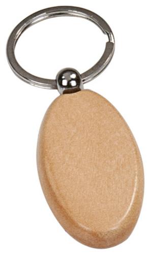 Maple Finish Oval Keychain