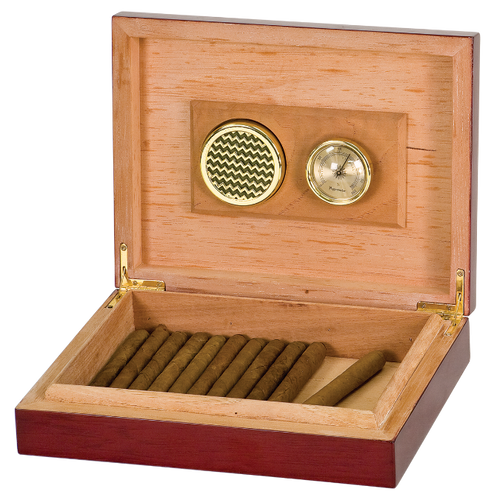 Rosewood Piano Finish Spanish Cedar Humidor with Hygrometer & Humidifier