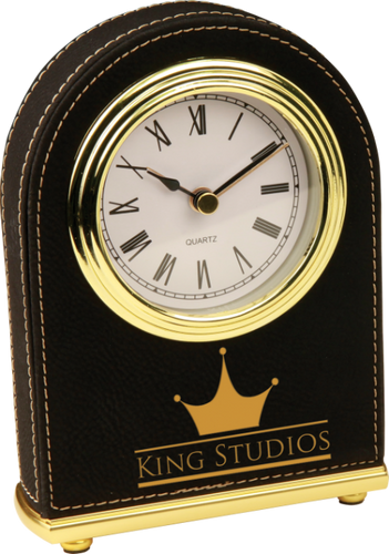 Black Leatherette Arch Desk Clock