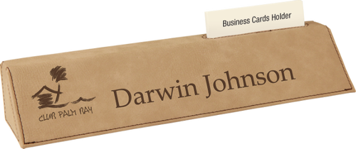 Light Brown Leatherette Desk Wedge with Business Card Holder