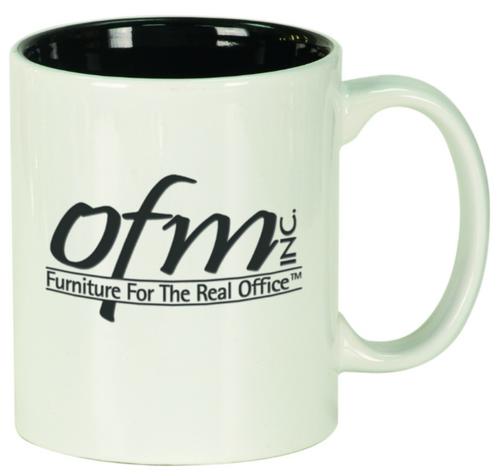 White/Black Round Ceramic Mug