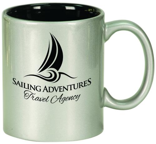 Metallic Silver/Black Round Ceramic Mug